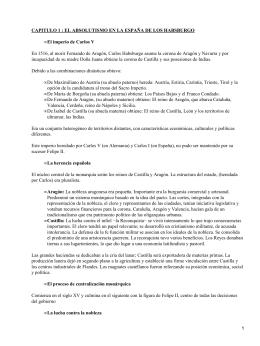 CAPITULO 1 : EL ABSOLUTISMO EN LA ESPAÑA DE LOS... El imperio de Carlos V •