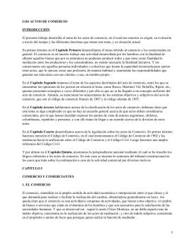 LOS ACTOS DE COMERCIO INTRODUCCIÓN