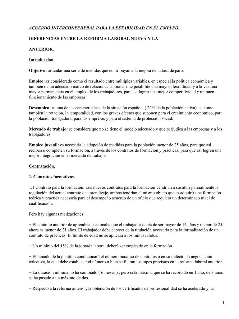 Acuerdo Interconfederal para estabilidad en el empleo
