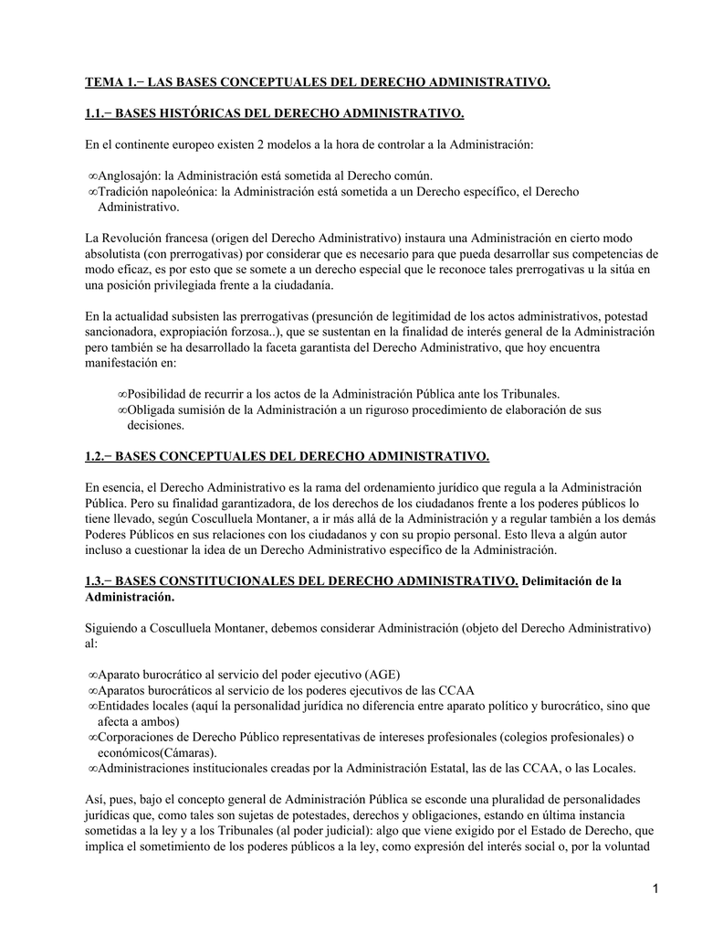 TEMA 1.− LAS BASES CONCEPTUALES DEL DERECHO ADMINISTRATIVO.