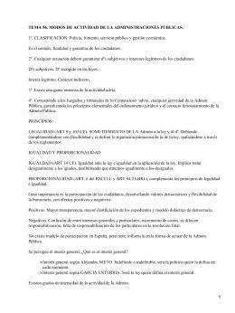 TEMA 56. MODOS DE ACTIVIDAD DE LA ADMINISTRACIONES PÚBLICAS.