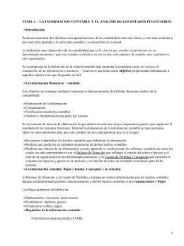 TEMA 1. − LA INFORMACION CONTABLE Y EL ANALISIS DE... Introducción. •