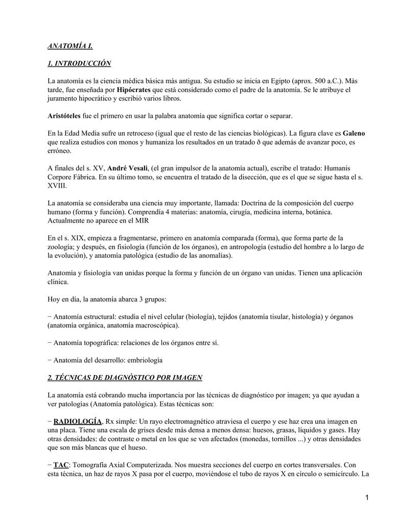 ANATOMÍA I. 1. INTRODUCCIÓN