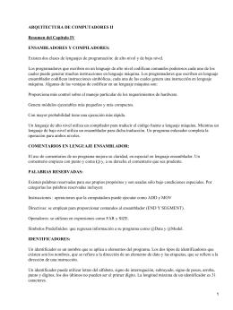 ARQUITECTURA DE COMPUTADORES II Resumen del Capítulo IV ENSAMBLADORES Y COMPILADORES: