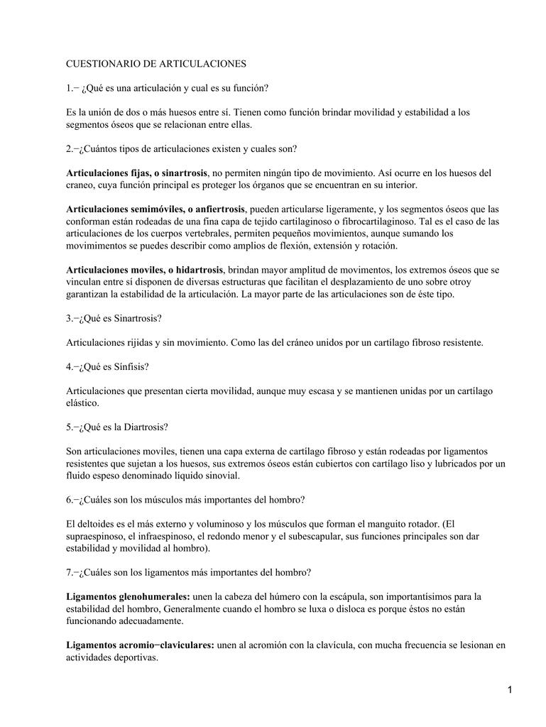 CUESTIONARIO DE ARTICULACIONES