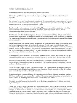 Artículo periodístico sobre la muerte de Laín Entralgo