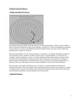 TEORÍAS GEOCÉNTRICAS −Modelo aristotélico del Universo