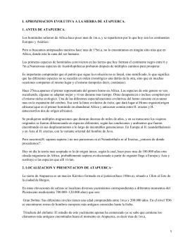 I. APROXIMACION EVOLUTIVA A LA SIERRA DE ATAPUERCA.