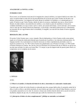 ANALISIS DE LA NOVELA AURA INTRODUCCION