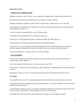BASES DE DATOS LOS DATOS: INTRODUCCIÓN •
