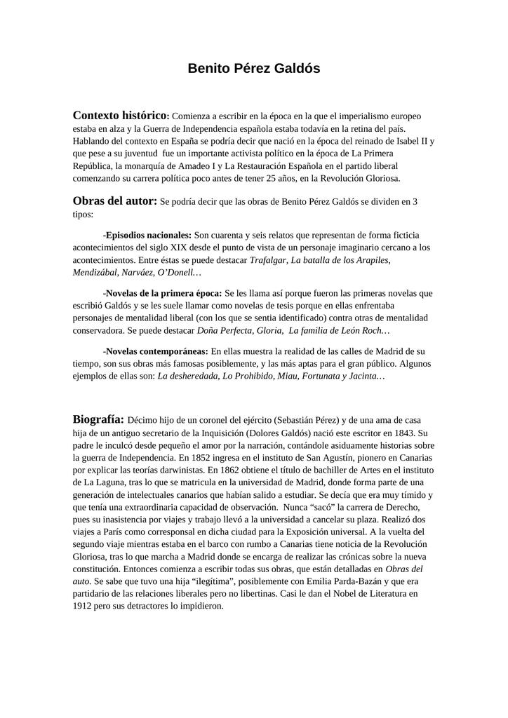 Benito Pérez Galdós Contexto histórico