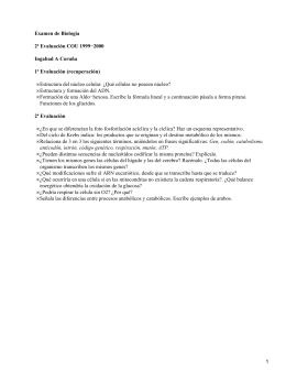 Examen de Biología 2ª Evaluación COU 1999−2000 Ingabad A Coruña 1ª Evaluación (recuperación)