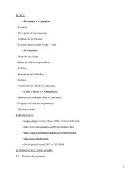ÍNDICE: − Resumen − Descripción de los personajes − Conflicto de los Palomas