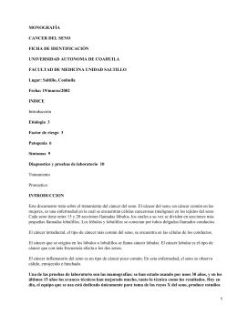 MONOGRAFÍA CANCER DEL SENO FICHA DE IDENTIFICACIÓN UNIVERSIDAD AUTONOMA DE COAHUILA