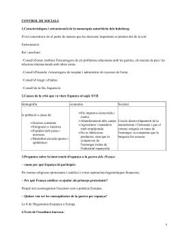CONTROL DE SOCIALS Estructuració.