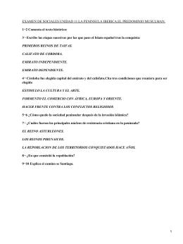 EXAMEN DE SOCIALES UNIDAD 11:LA PENINSULA IBERICA.EL PREDOMINIO MUSULMAN.