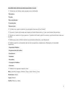 EXÁMEN DE CIENCIAS SOCIALES DE 2º E.S.O. *Dictadura. *Estado. *Descentralizado.