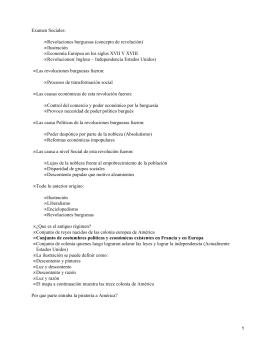 Examen Sociales: Revoluciones burguesas (concepto de revolución) Ilustración