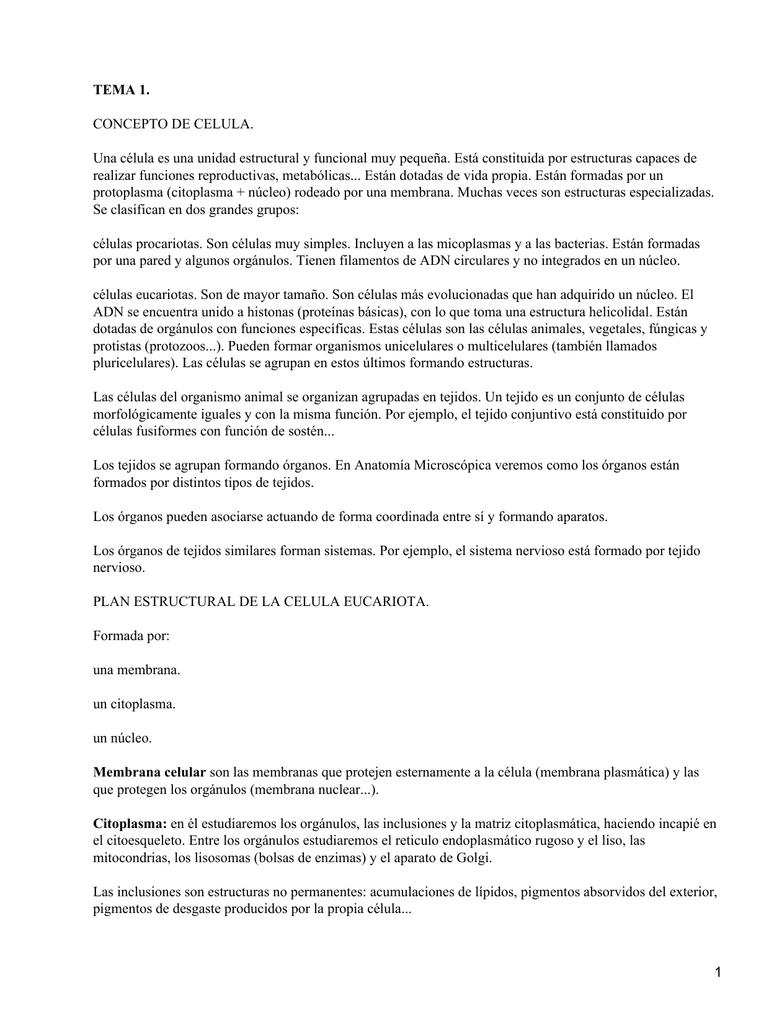 TEMA 1. CONCEPTO DE CELULA.