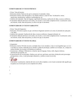 COMENTARIO DE UN TEXTO POÉTICO Tema: Tema del poema.