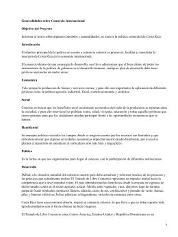 Generalidades sobre Comercio Internacional Objetivo del Proyecto