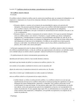 Lección 19: Conflictos colectivos de trabajo y procedimientos de resolución. Concepto.