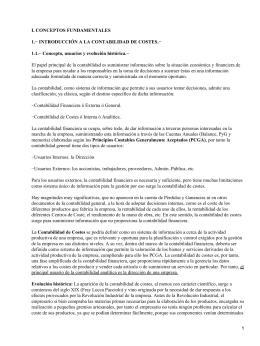 I. CONCEPTOS FUNDAMENTALES 1.− INTRODUCCIÓN A LA CONTABILIDAD DE COSTES.−