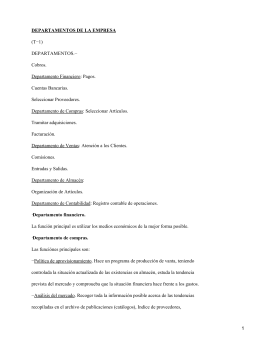 DEPARTAMENTOS DE LA EMPRESA (T−1) DEPARTAMENTOS.− Cobros.