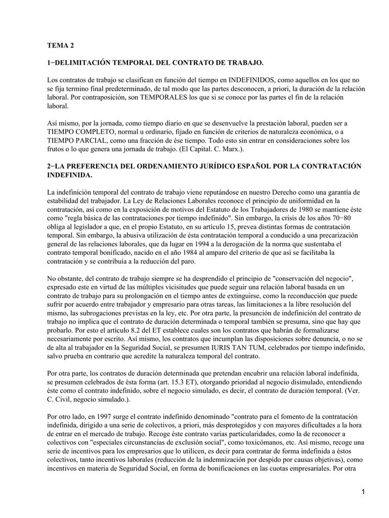 TEMA 2 1−DELIMITACIÓN TEMPORAL DEL CONTRATO DE TRABAJO.