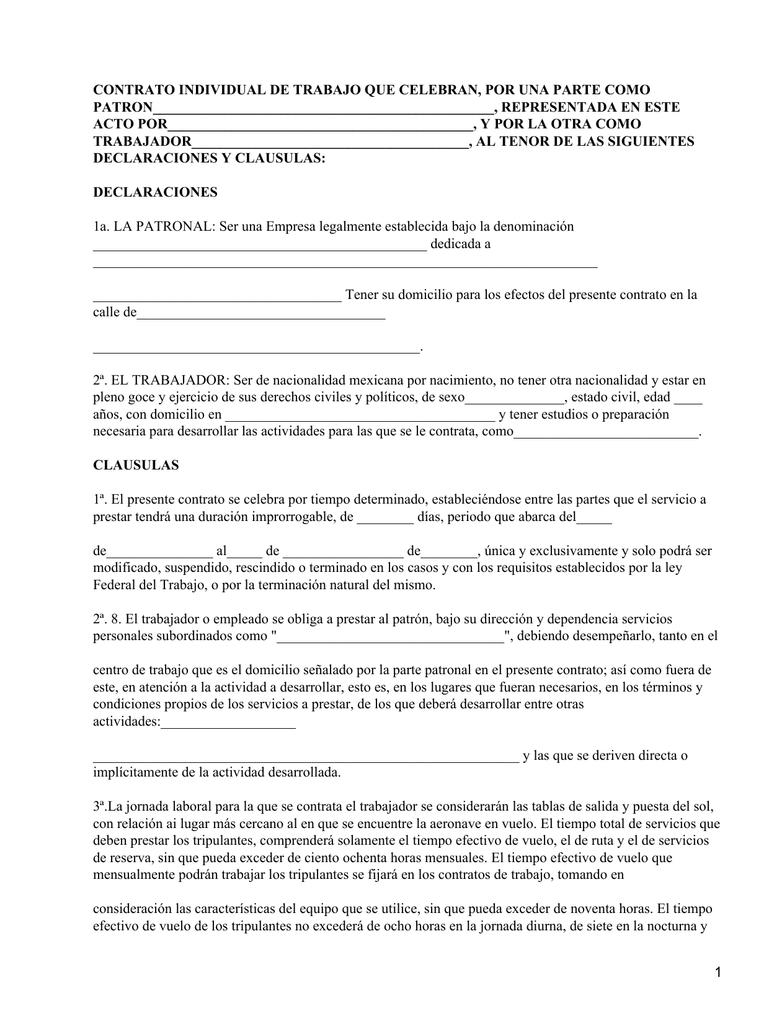 Contrato Individual De Trabajo Que Celebran Por Una Parte Como