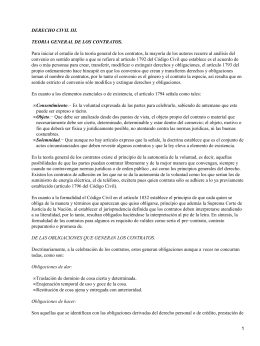 DERECHO CIVIL III. TEORIA GENERAL DE LOS CONTRATOS.