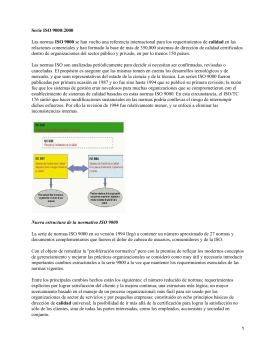 Control de calidad: Normas ISO (International Standard Organization) 9000