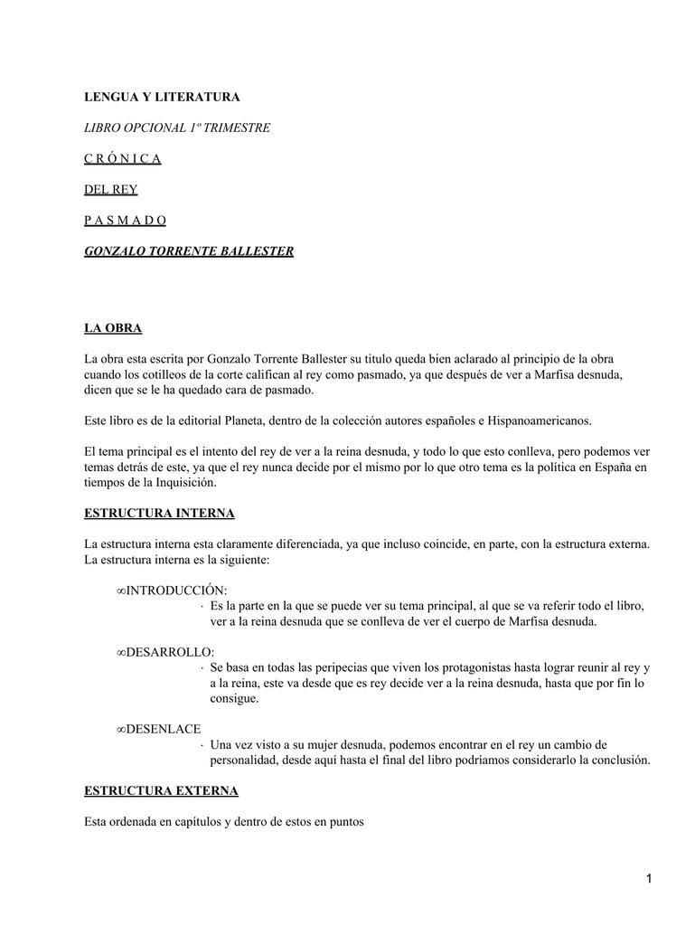 Crónica Del Rey Pasmado Gonzalo Torrente Ballester