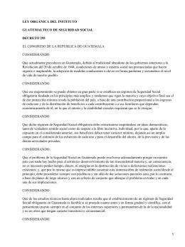Decreto 495 de 28 octubre 1946. Ley Orgánica del instituto Guatemalteco de SS (Seguridad Social)