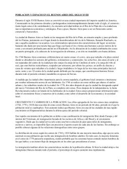 Densidad demográfica de Buenos Aires en el Siglo XVIII