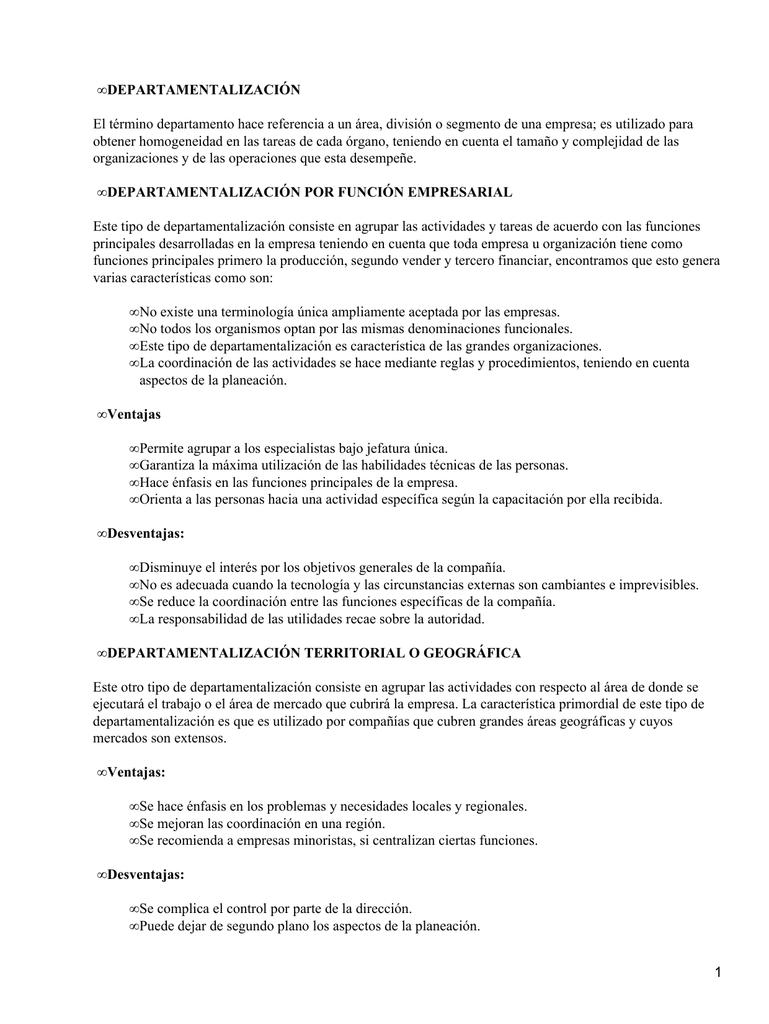Departamentalización Y Descentralización