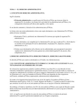 TEMA 1 − EL DERECHO ADMINISTRATIVO 1. CONCEPTO DE DERECHO ADMINISTRATIVO.