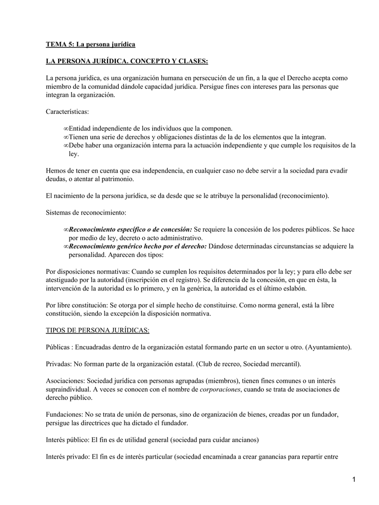 38329051b9d9 TEMA 5: La persona jurídica LA PERSONA JURÍDICA. CONCEPTO Y CLASES: