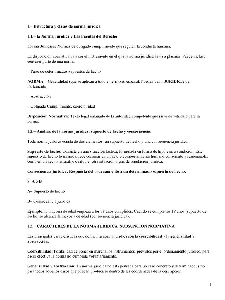 1 Estructura Y Clases De Norma Jurídica Norma Jurídica