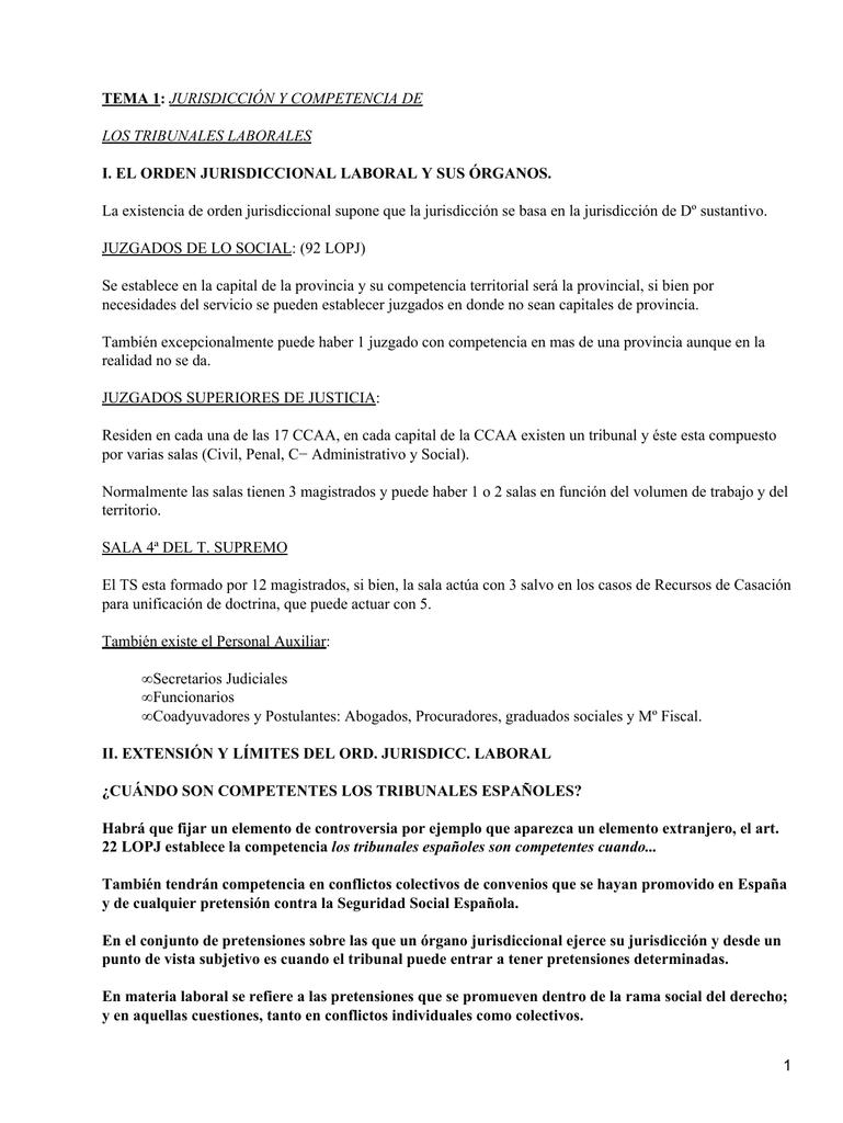 TEMA 1: I. EL ORDEN JURISDICCIONAL LABORAL Y SUS ÓRGANOS.