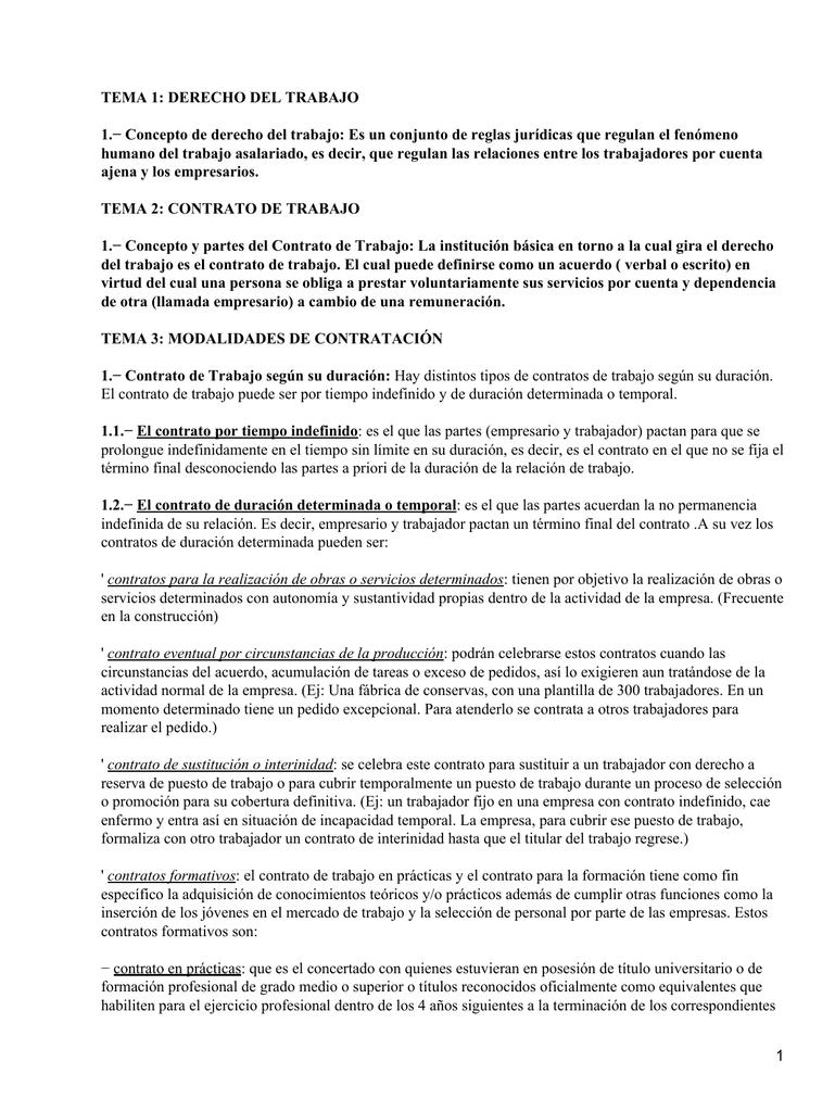 TEMA 1: DERECHO DEL TRABAJO