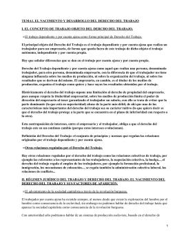 TEMA1. EL NACIMIENTO Y DESARROLLO DEL DERECHO DEL TRABAJO