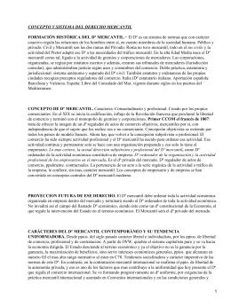 CONCEPTO Y SISTEMA DEL DERECHO MERCANTIL FORMACIÓN HISTÓRICA DEL Dº MERCANTIL.−