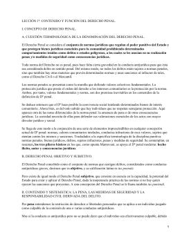 LECCIÓN 1ª: CONTENIDO Y FUNCIÓN DEL DERECHO PENAL.