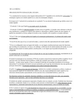 DE LA CORONA ORGANOS INSTITUCIONALES DEL ESTADO :