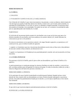 DERECHO ROMANO LA FAMILIA 1. CONCEPTO
