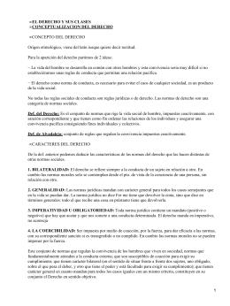 EL DERECHO Y SUS CLASES CONCEPTUALIZACION DEL DERECHO • CONCEPTO DEL DERECHO