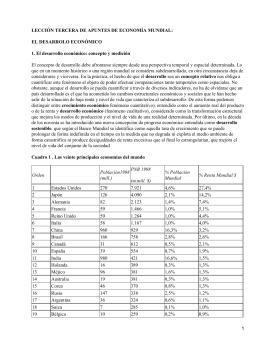 LECCIÓN TERCERA DE APUNTES DE ECONOMÍA MUNDIAL: EL DESARROLO ECONÓMICO