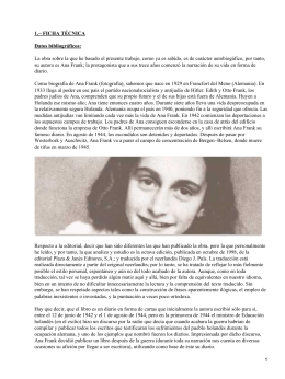 Trabajo De Historia El Diario De Ana Frank Ficha Bibliográfica