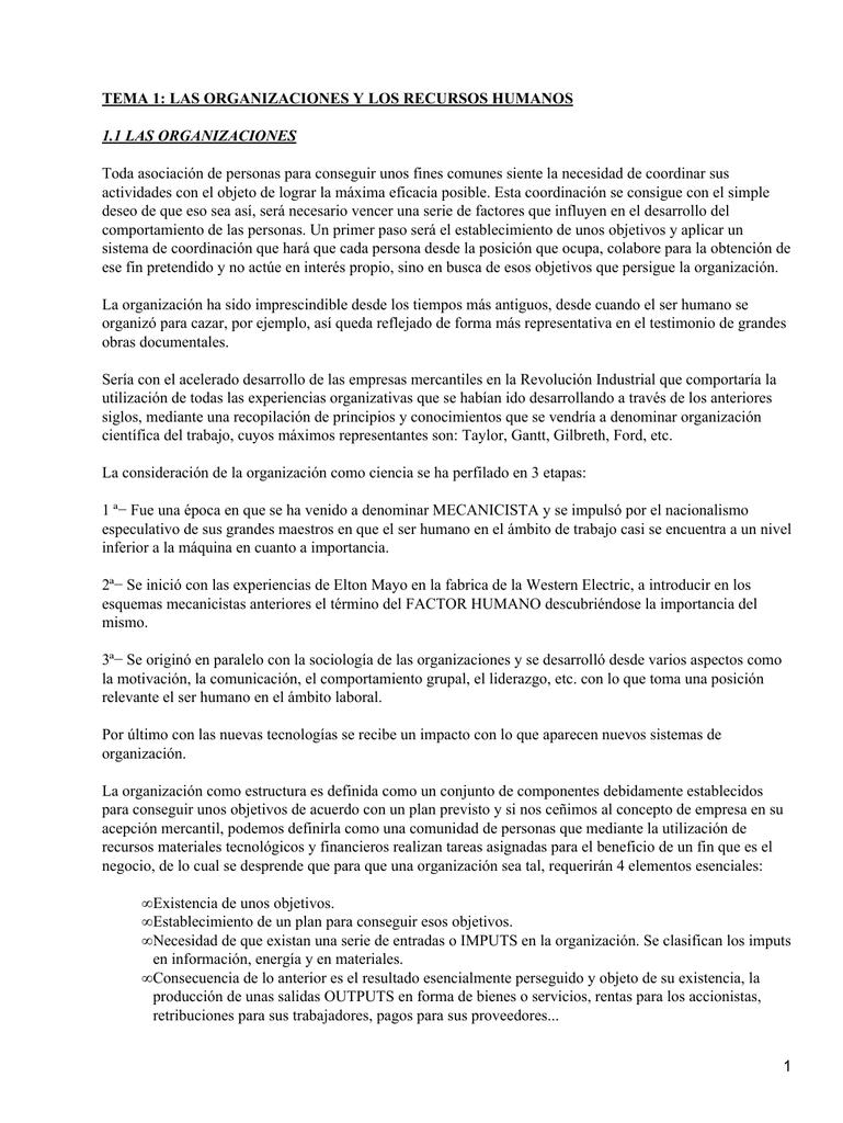 TEMA 1: LAS ORGANIZACIONES Y LOS RECURSOS HUMANOS 1.1 LAS ...